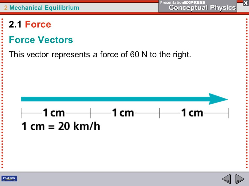2 Mechanical Equilibrium Force Vectors This vector represents a force of 60 N to the right. 2.1 Force