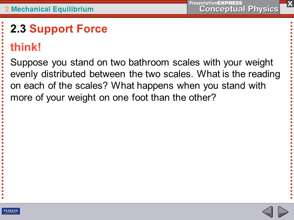 2 Mechanical Equilibrium think! Suppose you stand on two bathroom scales with your weight evenly distributed between the two scales. What is the readi
