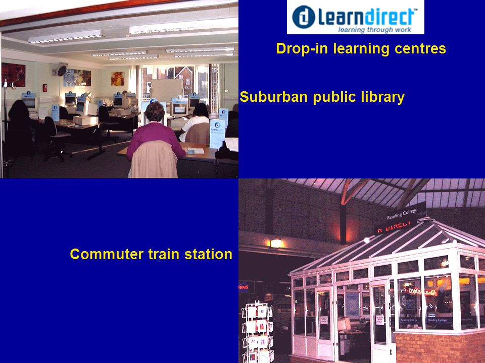 Suburban public library Commuter train station Drop-in learning centres