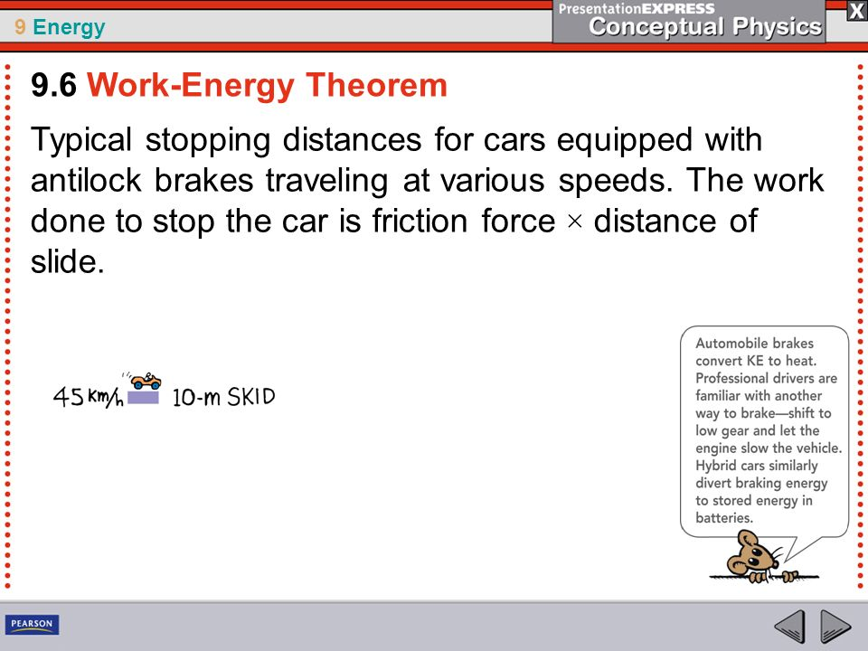 9 Energy Typical stopping distances for cars equipped with antilock brakes traveling at various speeds. The work done to stop the car is friction forc