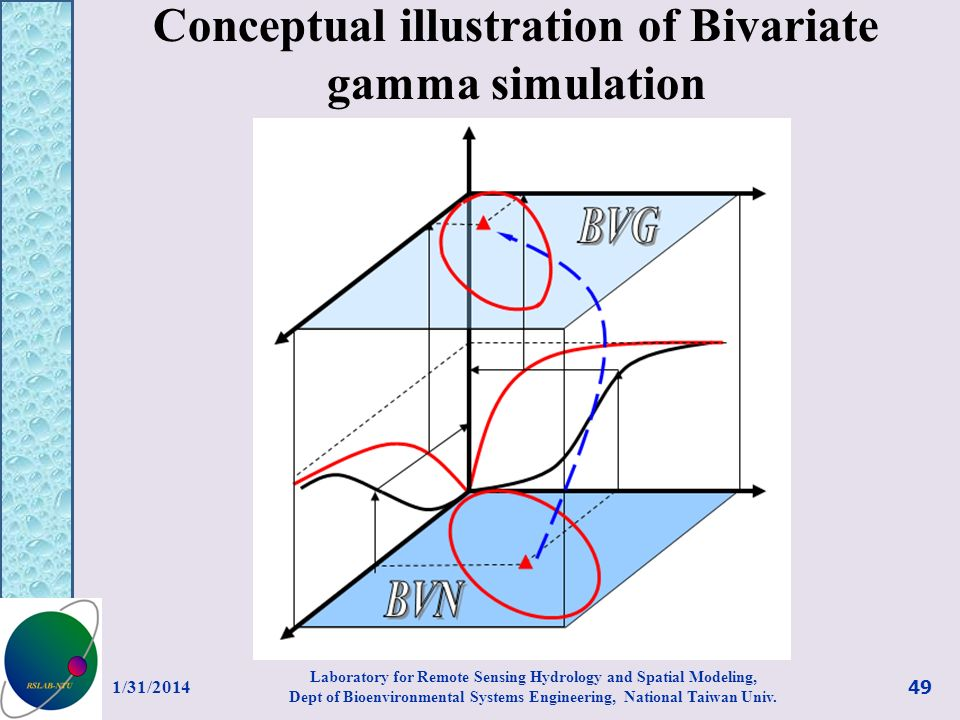 Conceptual illustration of Bivariate gamma simulation 1/31/2014 49 Laboratory for Remote Sensing Hydrology and Spatial Modeling, Dept of Bioenvironmen