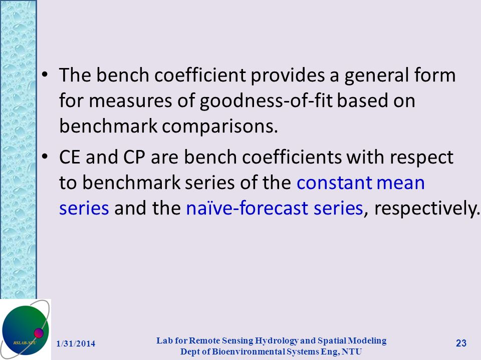 The bench coefficient provides a general form for measures of goodness-of-fit based on benchmark comparisons.