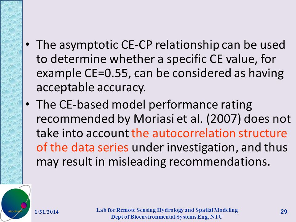The asymptotic CE-CP relationship can be used to determine whether a specific CE value, for example CE=0.55, can be considered as having acceptable accuracy.