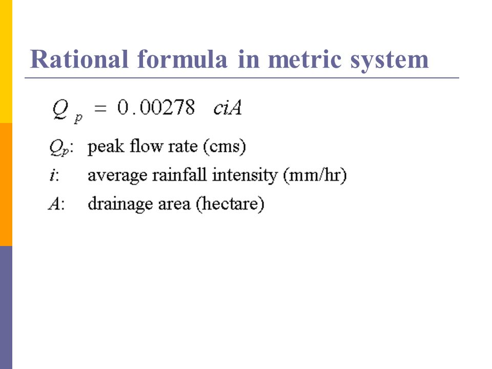 Rational formula in metric system