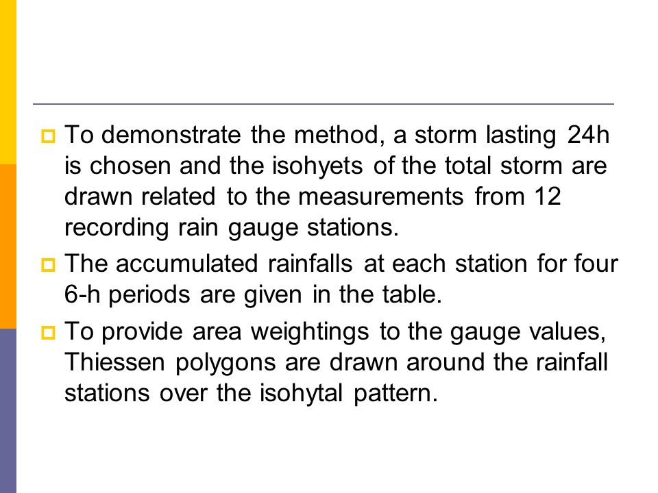 To demonstrate the method, a storm lasting 24h is chosen and the isohyets of the total storm are drawn related to the measurements from 12 recording r