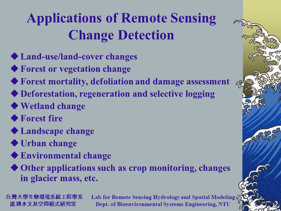 Lab for Remote Sensing Hydrology and Spatial Modeling Dept. of Bioenvironmental Systems Engineering, NTU Applications of Remote Sensing Change Detecti