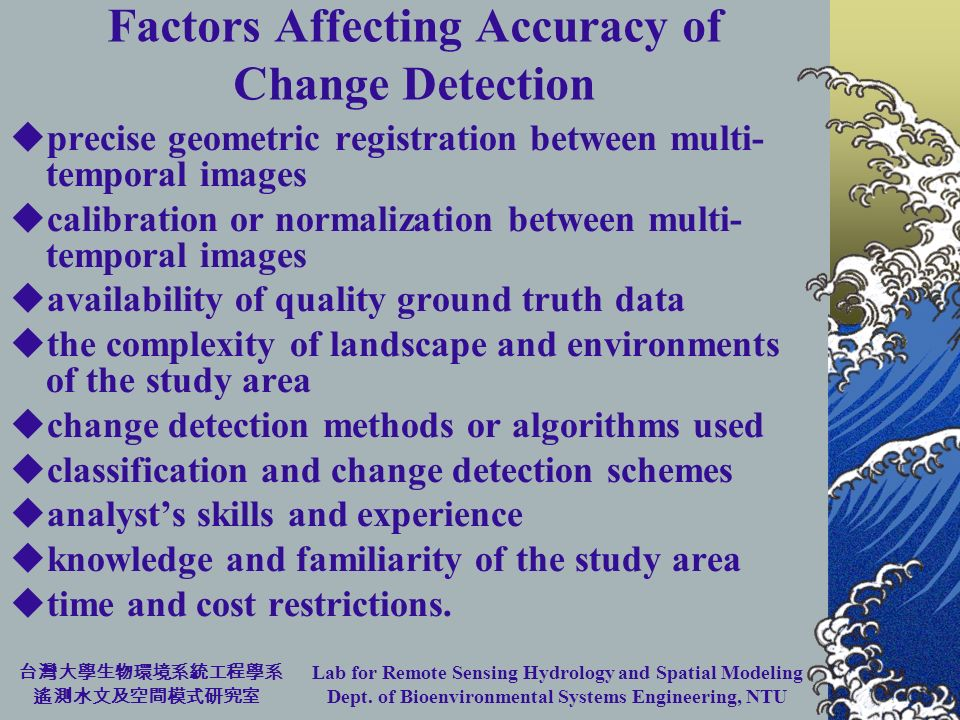 Lab for Remote Sensing Hydrology and Spatial Modeling Dept. of Bioenvironmental Systems Engineering, NTU Factors Affecting Accuracy of Change Detectio