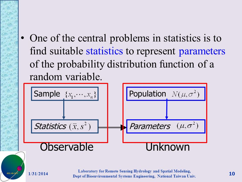 One of the central problems in statistics is to find suitable statistics to represent parameters of the probability distribution function of a random