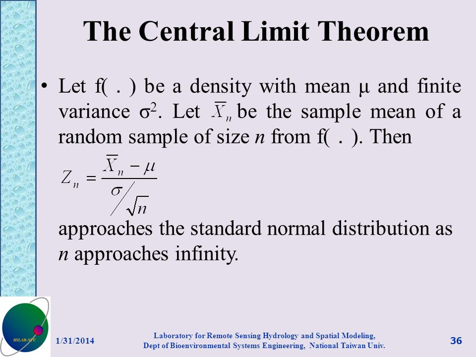 The Central Limit Theorem Let f( ) be a density with mean μ and finite variance σ 2. Let be the sample mean of a random sample of size n from f( ). Th