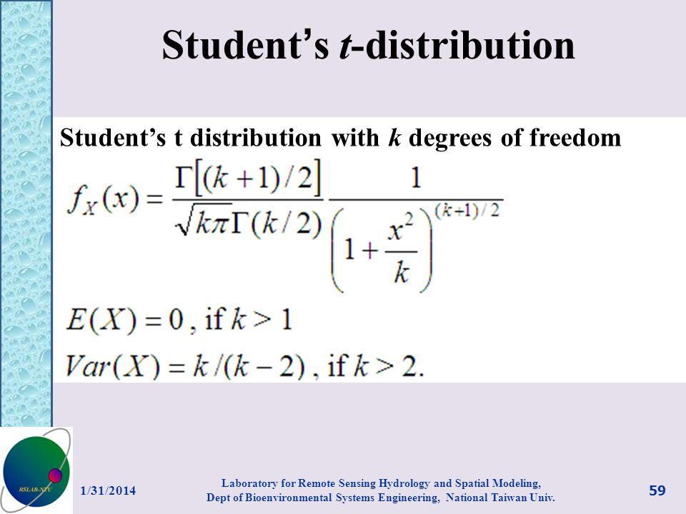 Student s t-distribution Students t distribution with k degrees of freedom 1/31/2014 59 Laboratory for Remote Sensing Hydrology and Spatial Modeling,
