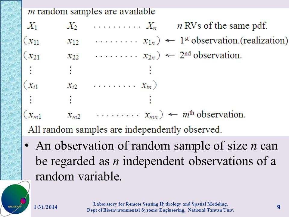 An observation of random sample of size n can be regarded as n independent observations of a random variable. 1/31/2014 9 Laboratory for Remote Sensin