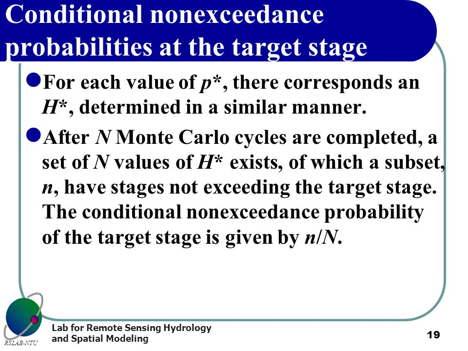 Lab for Remote Sensing Hydrology and Spatial Modeling RSLAB-NTU 19 Conditional nonexceedance probabilities at the target stage For each value of p*, t