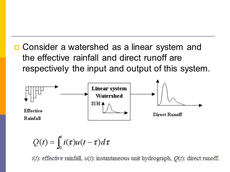 Consider a watershed as a linear system and the effective rainfall and direct runoff are respectively the input and output of this system.