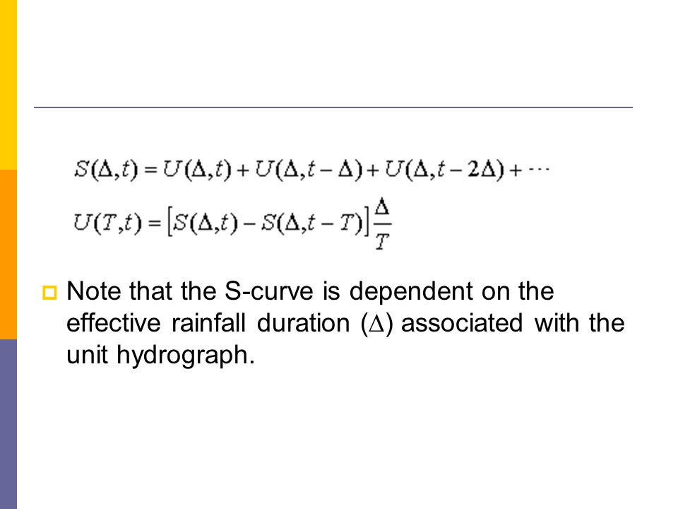 Note that the S-curve is dependent on the effective rainfall duration ( ) associated with the unit hydrograph.