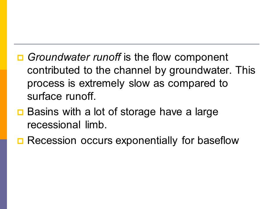 Groundwater runoff is the flow component contributed to the channel by groundwater. This process is extremely slow as compared to surface runoff. Basi