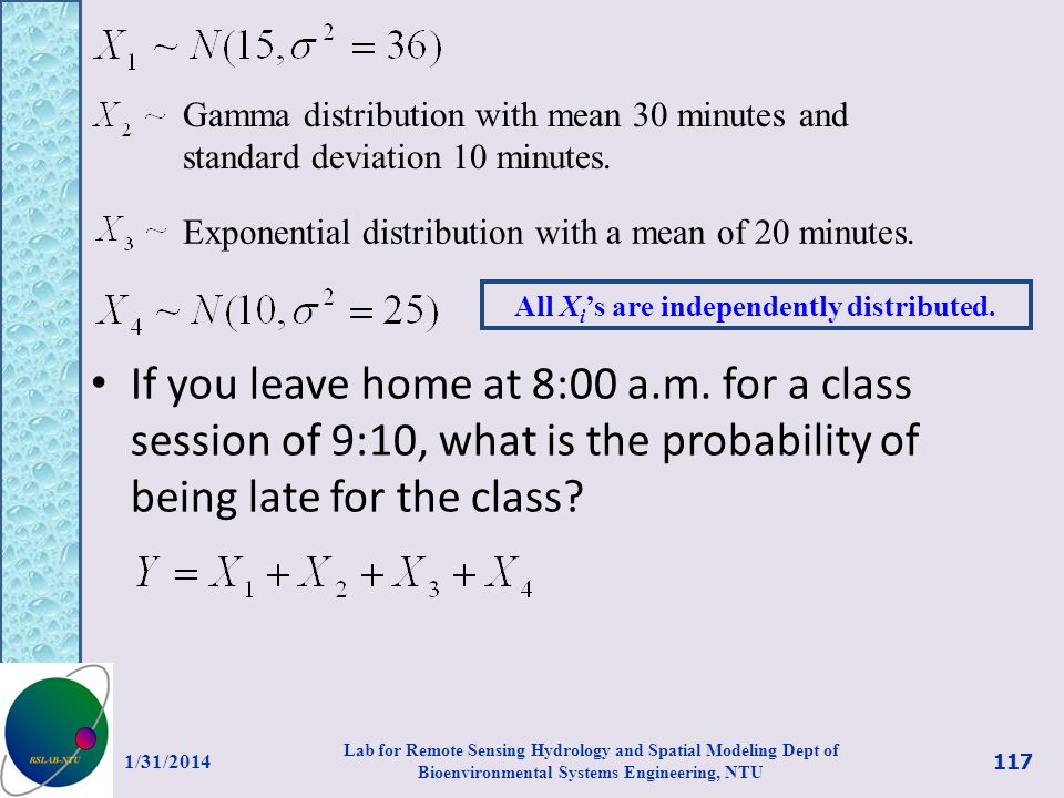 If you leave home at 8:00 a.m. for a class session of 9:10, what is the probability of being late for the class? Gamma distribution with mean 30 minut