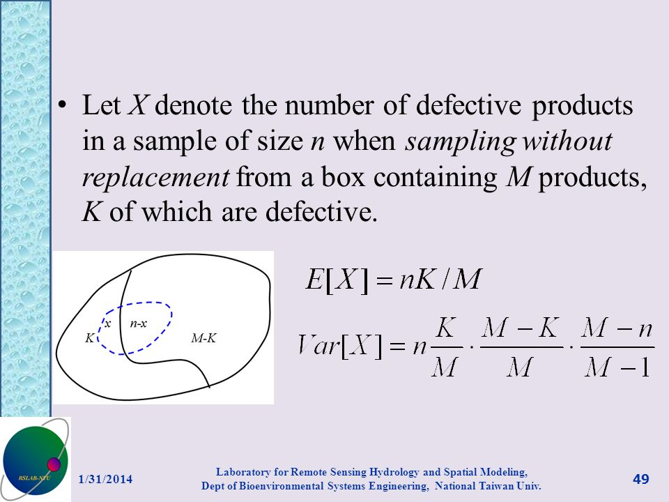 Let X denote the number of defective products in a sample of size n when sampling without replacement from a box containing M products, K of which are