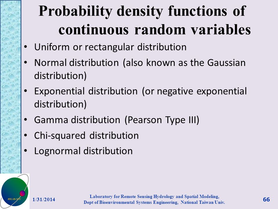 Probability density functions of continuous random variables Uniform or rectangular distribution Normal distribution (also known as the Gaussian distr