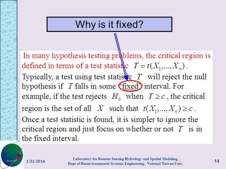Why is it fixed? 1/31/2014 14 Laboratory for Remote Sensing Hydrology and Spatial Modeling, Dept of Bioenvironmental Systems Engineering, National Tai