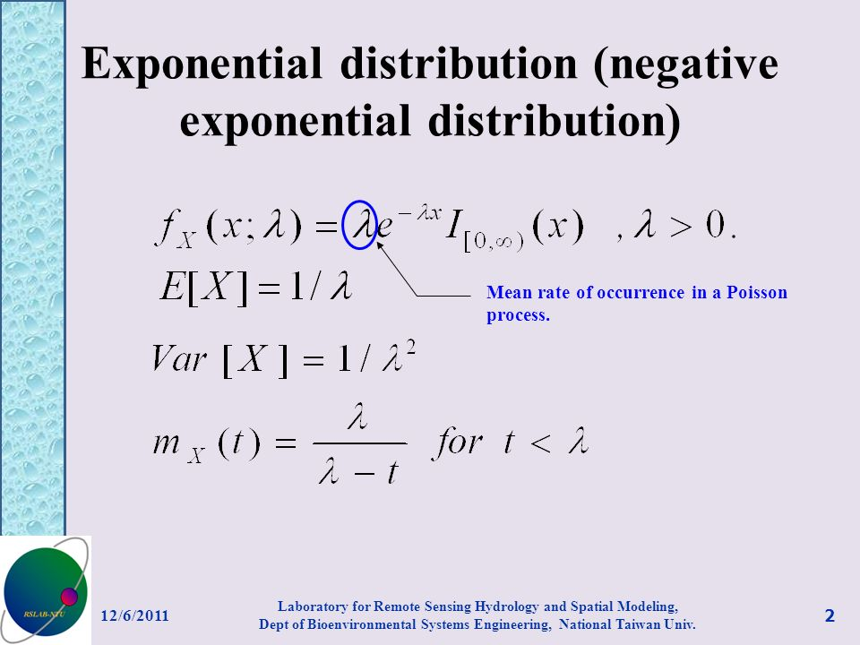 Exponential distribution (negative exponential distribution) Mean rate of occurrence in a Poisson process.