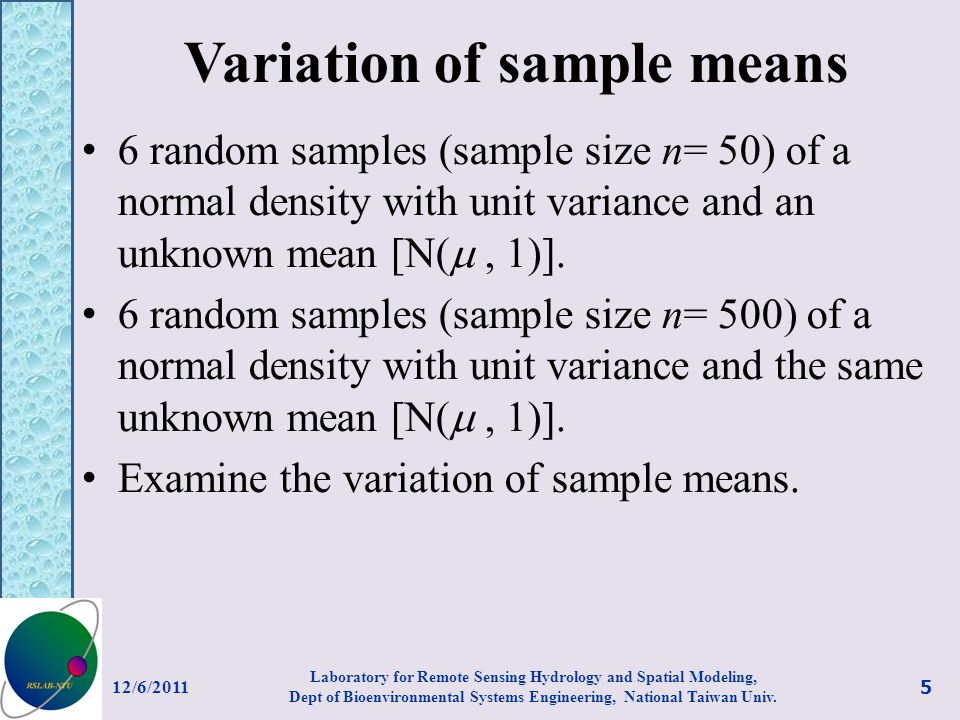 Variation of sample means 6 random samples (sample size n= 50) of a normal density with unit variance and an unknown mean [N(, 1)].