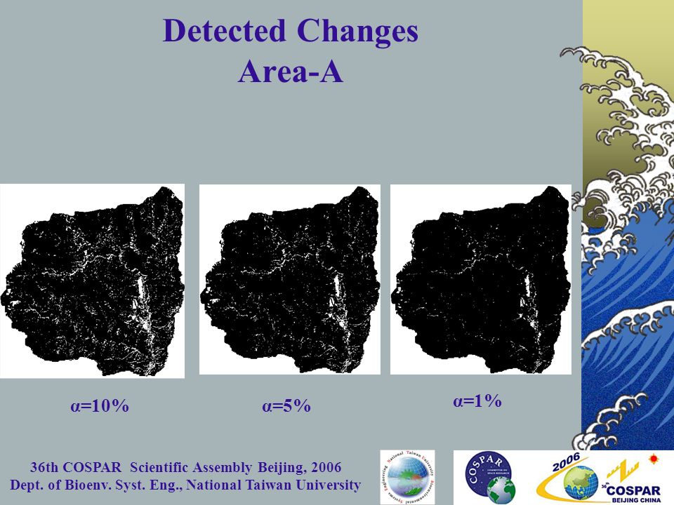 36th COSPAR Scientific Assembly Beijing, 2006 Dept. of Bioenv. Syst. Eng., National Taiwan University Detected Changes Area-A α=1% α=5% α=10%