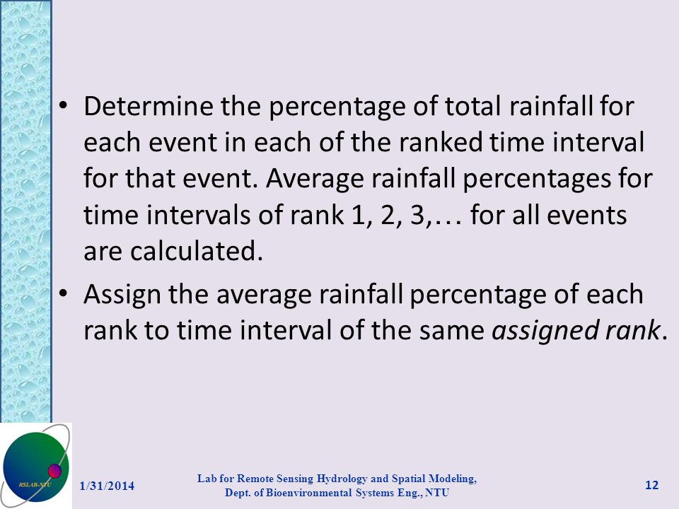 Determine the percentage of total rainfall for each event in each of the ranked time interval for that event. Average rainfall percentages for time in