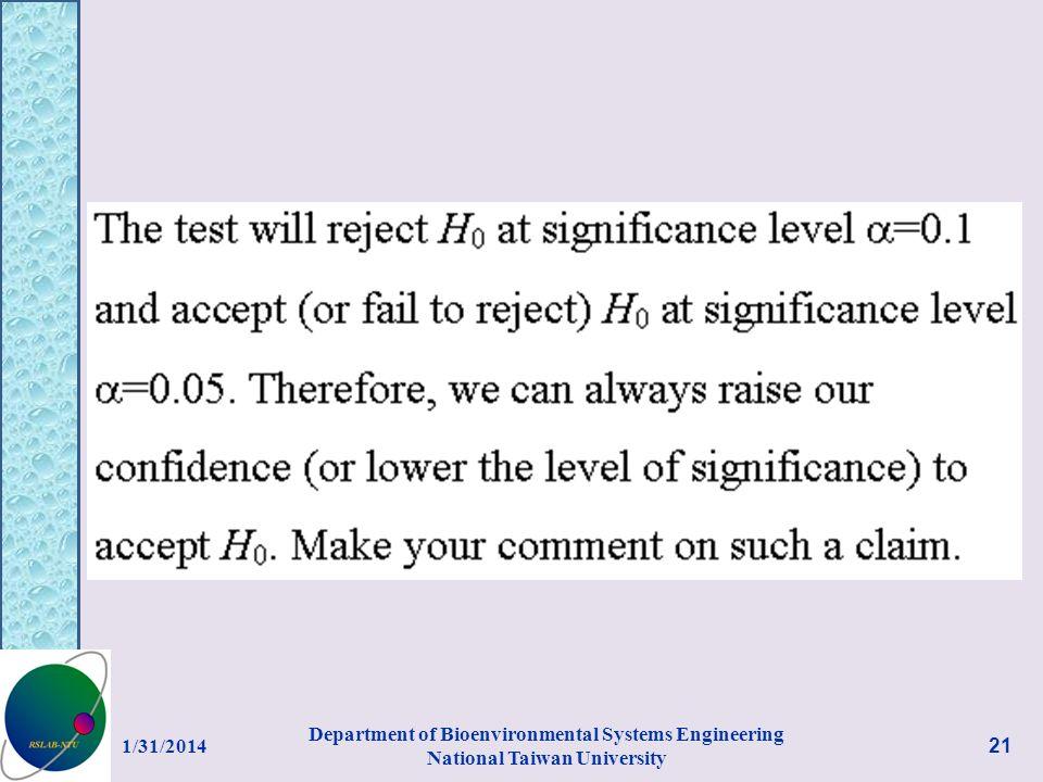 1/31/2014 Department of Bioenvironmental Systems Engineering National Taiwan University 21