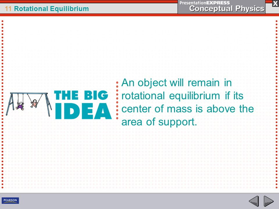11 Rotational Equilibrium An object will remain in rotational equilibrium if its center of mass is above the area of support.