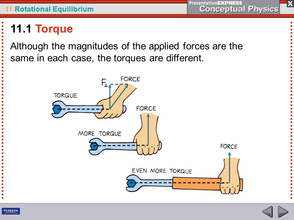 11 Rotational Equilibrium Although the magnitudes of the applied forces are the same in each case, the torques are different. 11.1 Torque
