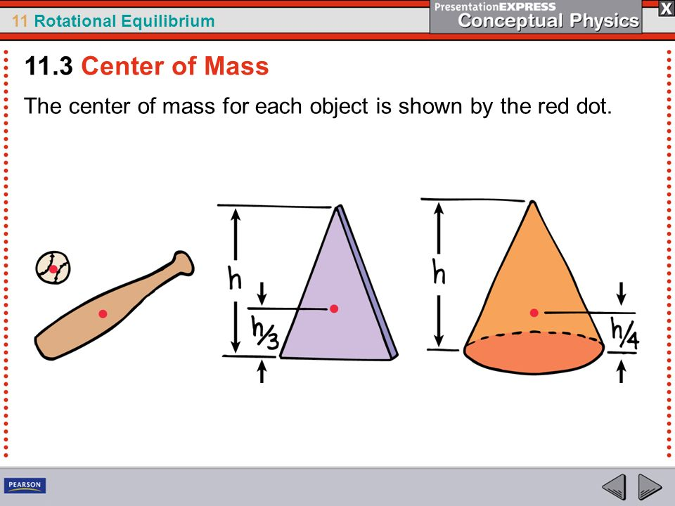 11 Rotational Equilibrium The center of mass for each object is shown by the red dot. 11.3 Center of Mass
