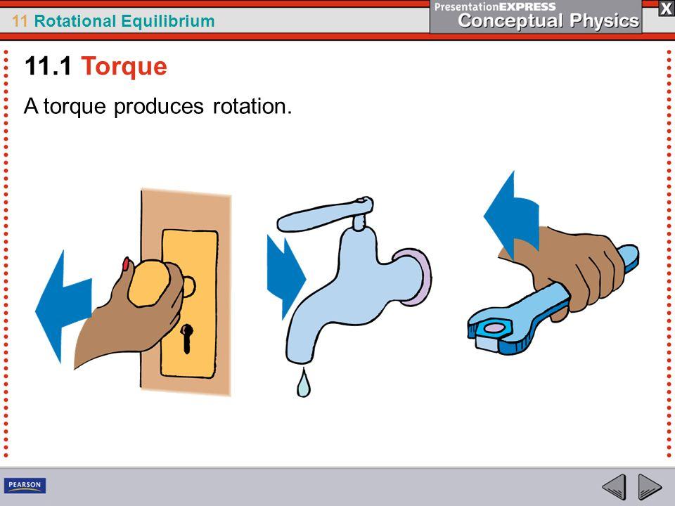 11 Rotational Equilibrium A torque produces rotation. 11.1 Torque