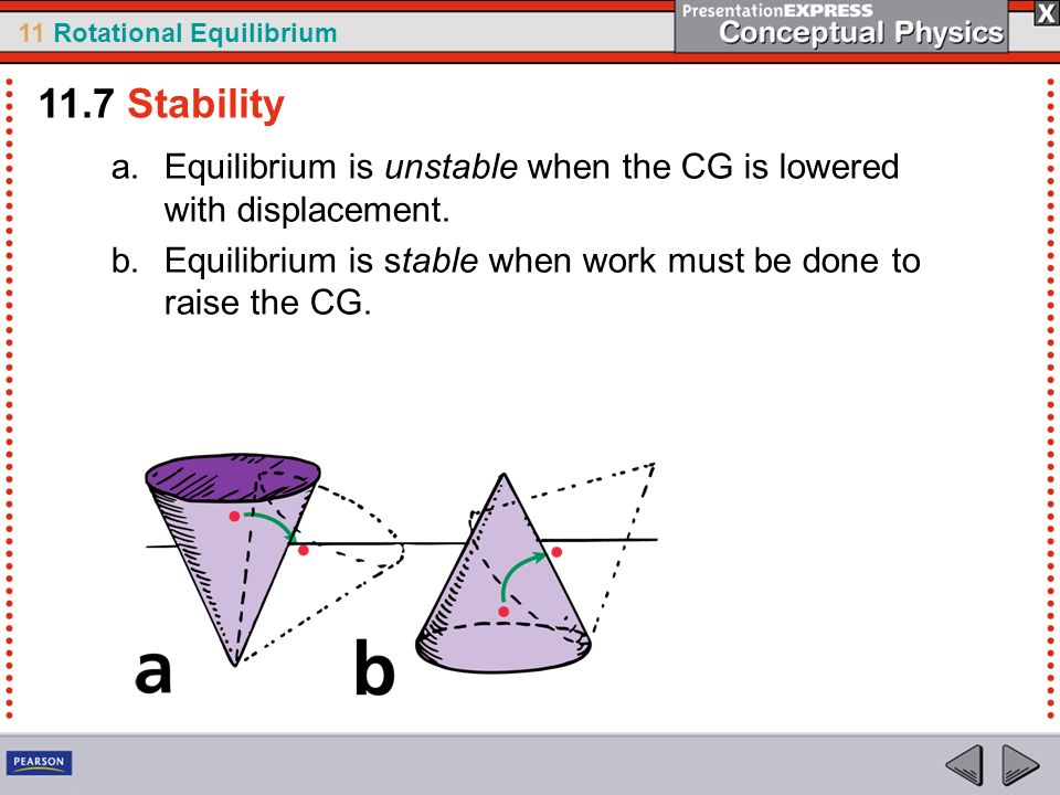 11 Rotational Equilibrium 11.7 Stability a.Equilibrium is unstable when the CG is lowered with displacement. b.Equilibrium is stable when work must be