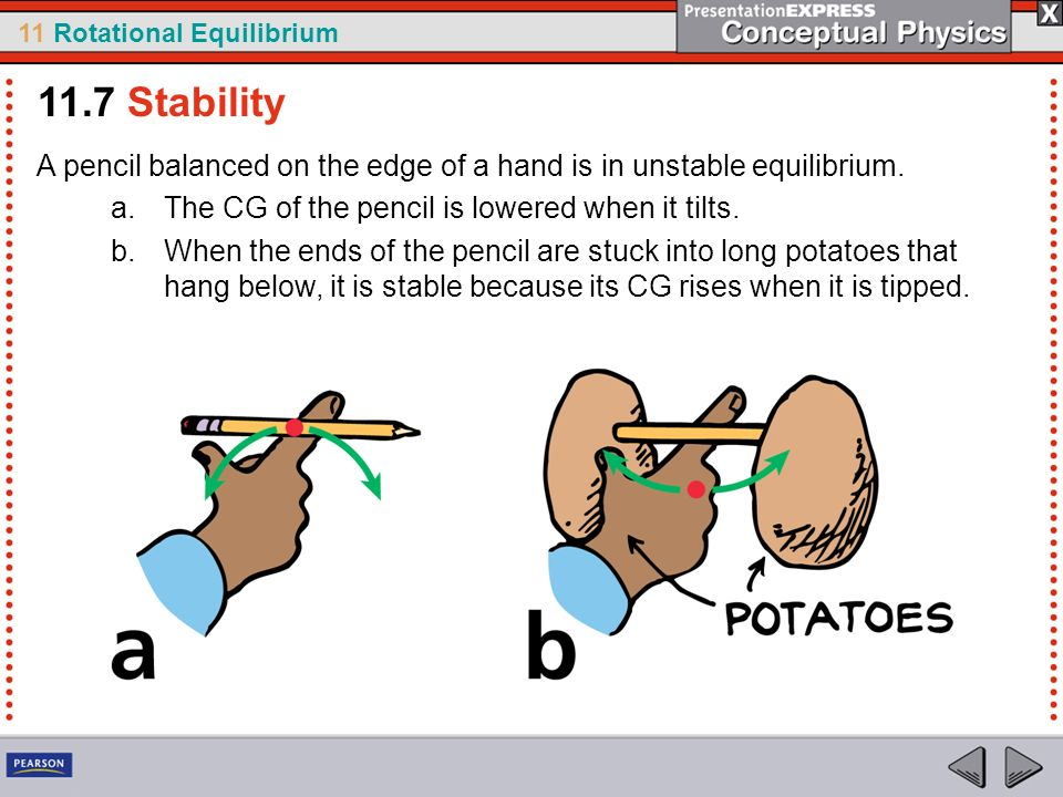 11 Rotational Equilibrium 11.7 Stability A pencil balanced on the edge of a hand is in unstable equilibrium. a.The CG of the pencil is lowered when it