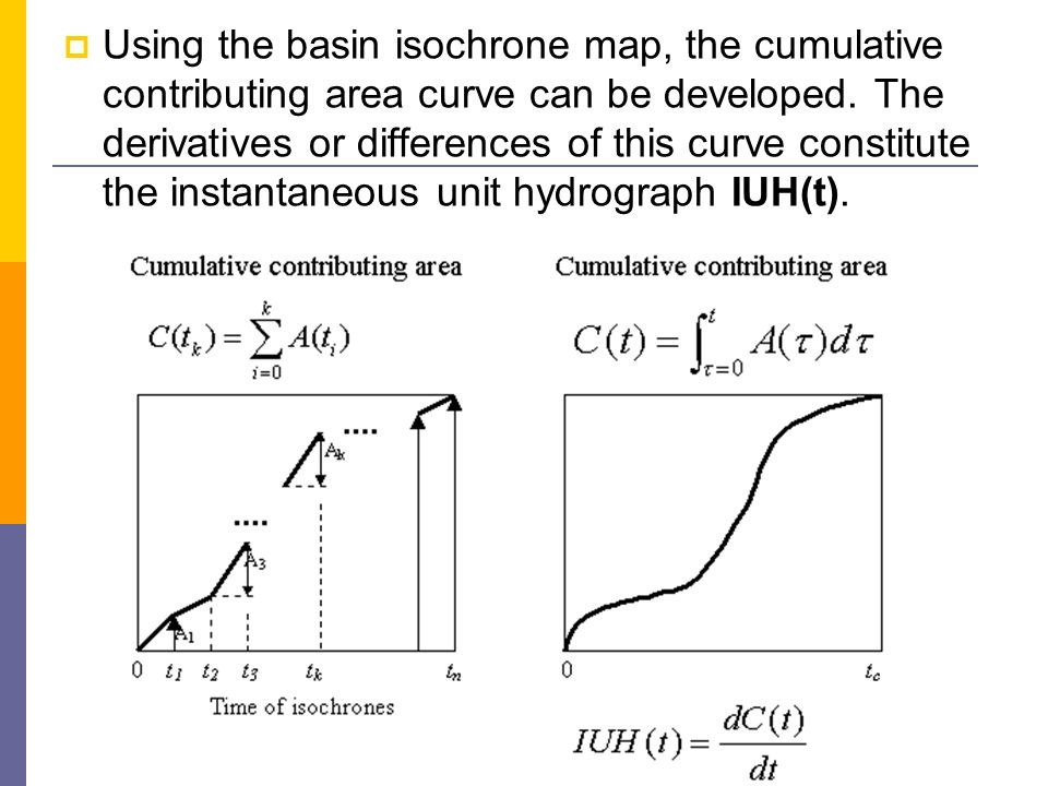 Using the basin isochrone map, the cumulative contributing area curve can be developed. The derivatives or differences of this curve constitute the in