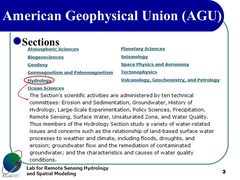 Lab for Remote Sensing Hydrology and Spatial Modeling RSLAB-NTU 3 American Geophysical Union (AGU) Sections