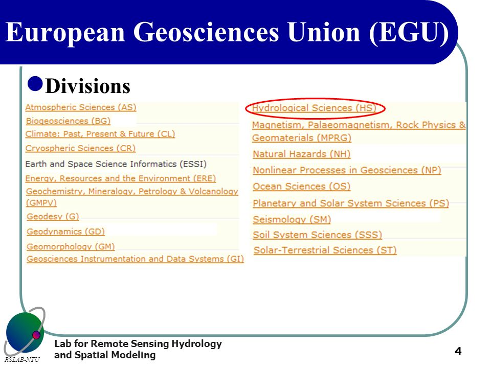 Lab for Remote Sensing Hydrology and Spatial Modeling RSLAB-NTU 4 European Geosciences Union (EGU) Divisions