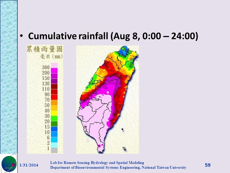 Cumulative rainfall (Aug 8, 0:00 – 24:00) 1/31/2014 59 Lab for Remote Sensing Hydrology and Spatial Modeling Department of Bioenvironmental Systems En