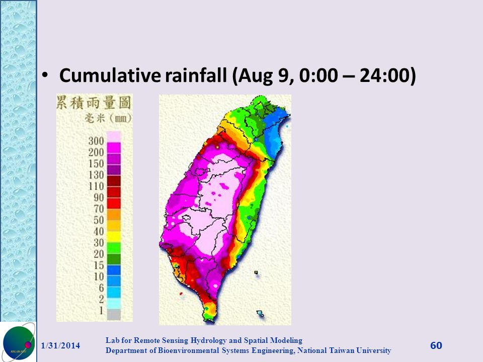 Cumulative rainfall (Aug 9, 0:00 – 24:00) 1/31/2014 60 Lab for Remote Sensing Hydrology and Spatial Modeling Department of Bioenvironmental Systems En