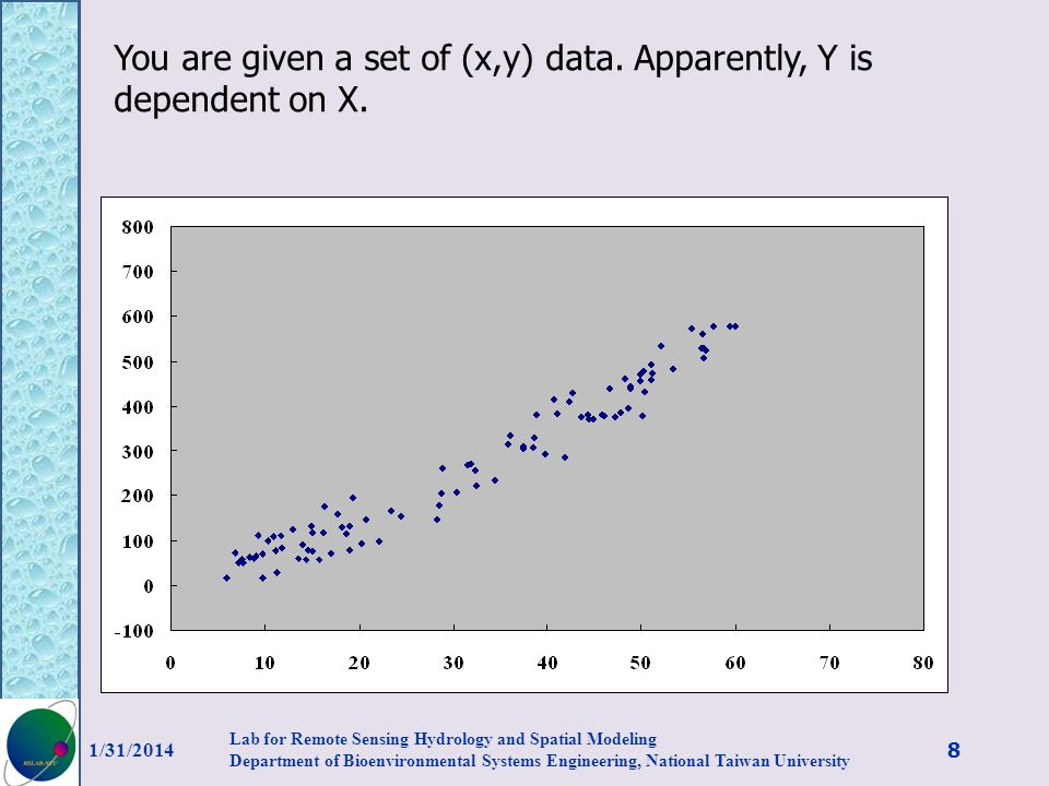 You are given a set of (x,y) data. Apparently, Y is dependent on X. 1/31/2014 8 Lab for Remote Sensing Hydrology and Spatial Modeling Department of Bi