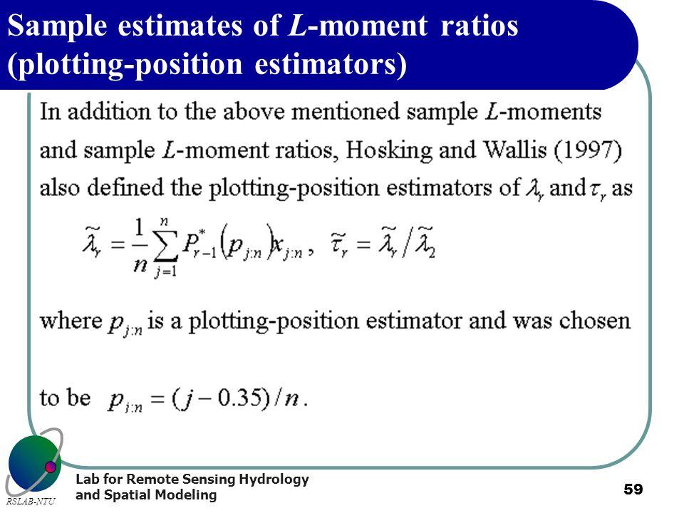 Lab for Remote Sensing Hydrology and Spatial Modeling RSLAB-NTU 59 Sample estimates of L-moment ratios (plotting-position estimators)