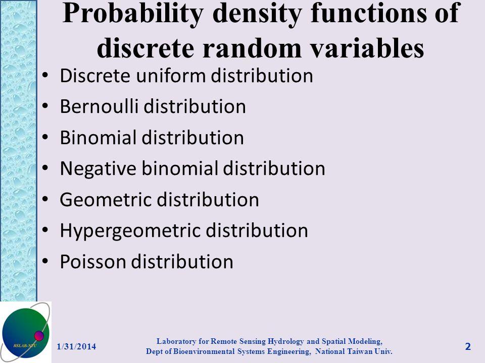 Probability density functions of discrete random variables Discrete uniform distribution Bernoulli distribution Binomial distribution Negative binomia