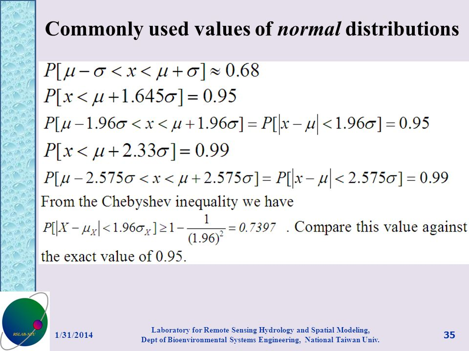 Commonly used values of normal distributions 1/31/2014 35 Laboratory for Remote Sensing Hydrology and Spatial Modeling, Dept of Bioenvironmental Syste