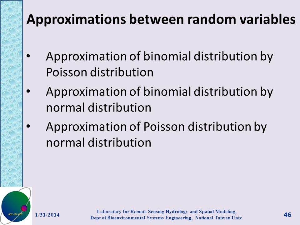 Approximations between random variables Approximation of binomial distribution by Poisson distribution Approximation of binomial distribution by norma