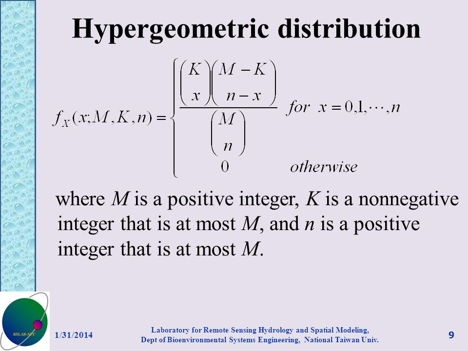 Hypergeometric distribution where M is a positive integer, K is a nonnegative integer that is at most M, and n is a positive integer that is at most M