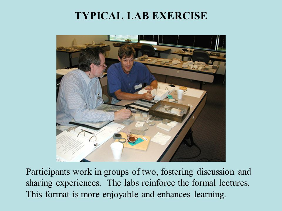 TYPICAL LAB EXERCISE Participants work in groups of two, fostering discussion and sharing experiences.