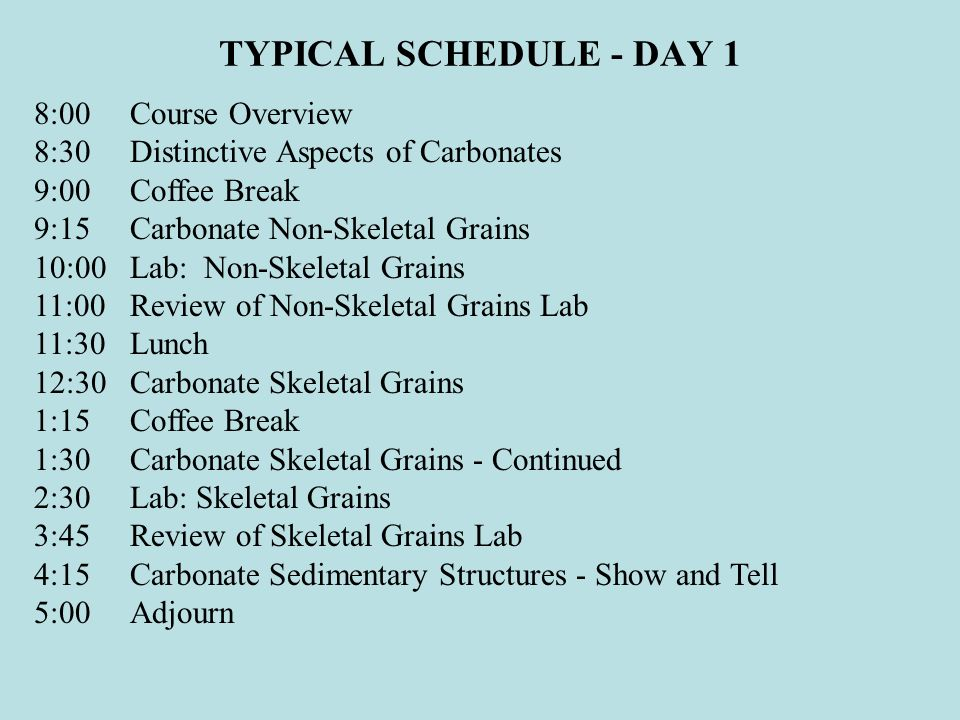 TYPICAL SCHEDULE - DAY 1 8:00Course Overview 8:30Distinctive Aspects of Carbonates 9:00Coffee Break 9:15Carbonate Non-Skeletal Grains 10:00Lab: Non-Skeletal Grains 11:00Review of Non-Skeletal Grains Lab 11:30Lunch 12:30Carbonate Skeletal Grains 1:15Coffee Break 1:30Carbonate Skeletal Grains - Continued 2:30Lab: Skeletal Grains 3:45Review of Skeletal Grains Lab 4:15Carbonate Sedimentary Structures - Show and Tell 5:00Adjourn