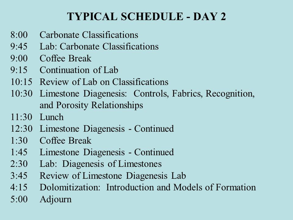 TYPICAL SCHEDULE - DAY 2 8:00Carbonate Classifications 9:45Lab: Carbonate Classifications 9:00Coffee Break 9:15Continuation of Lab 10:15Review of Lab on Classifications 10:30Limestone Diagenesis: Controls, Fabrics, Recognition, and Porosity Relationships 11:30Lunch 12:30Limestone Diagenesis - Continued 1:30Coffee Break 1:45Limestone Diagenesis - Continued 2:30Lab: Diagenesis of Limestones 3:45Review of Limestone Diagenesis Lab 4:15Dolomitization: Introduction and Models of Formation 5:00Adjourn