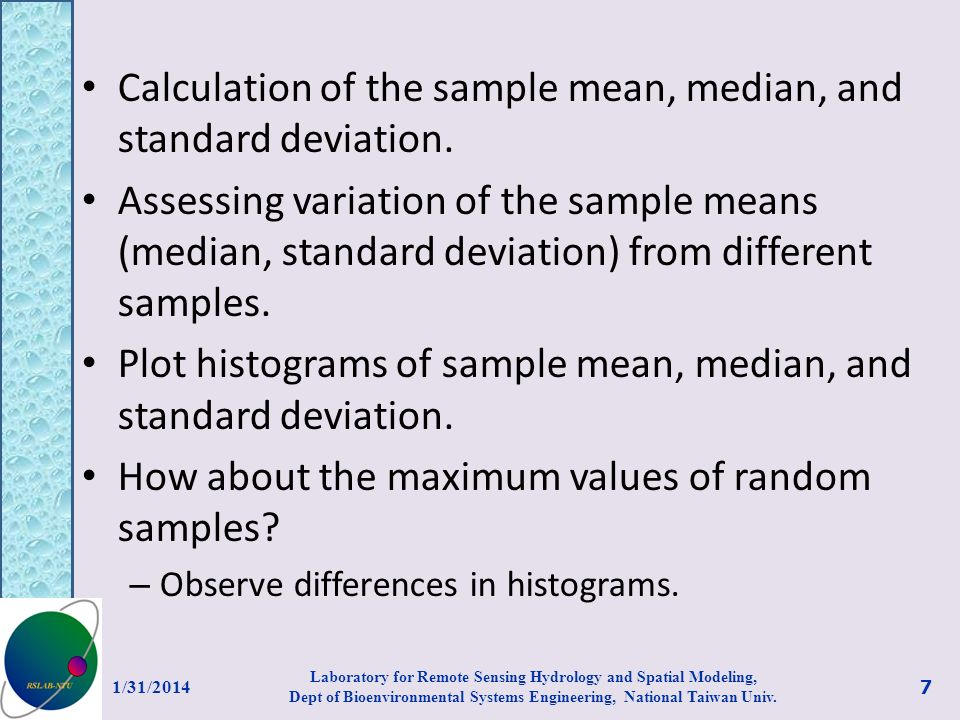Calculation of the sample mean, median, and standard deviation.