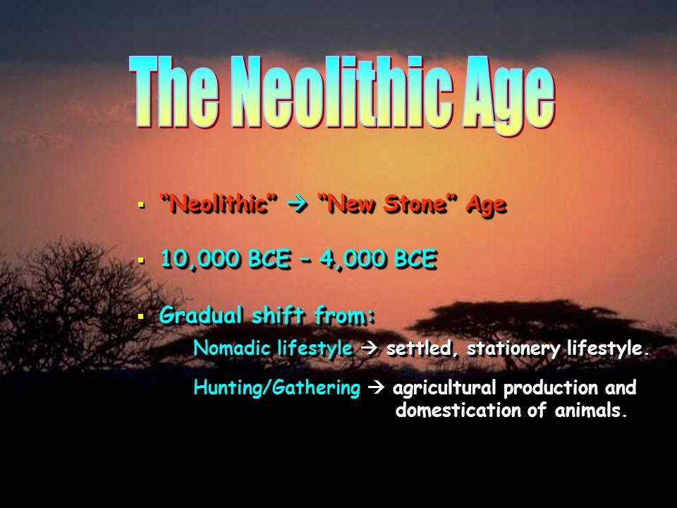 Neolithic New Stone Age 10,000 BCE – 4,000 BCE Gradual shift from: Nomadic lifestyle settled, stationery lifestyle. Hunting/Gathering agricultural pro